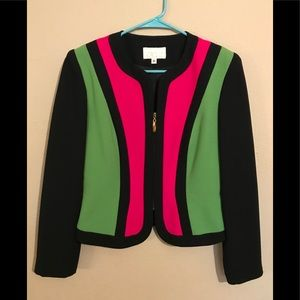 Cache Black Green Hot Pink Colorful blazer Sz 6
